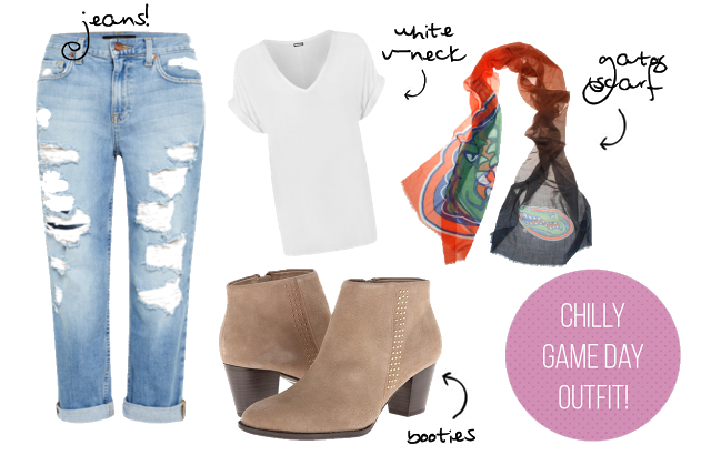 chilly game day outfit ideas, jeans, t-shirt, booties, scarf