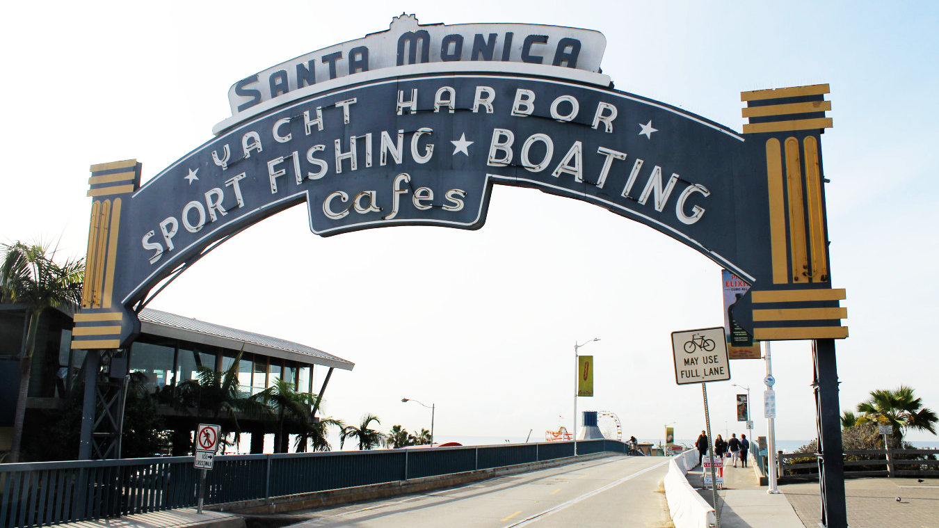santa monica yact harbor sport fishing boating cafes, santa monica boardwalk