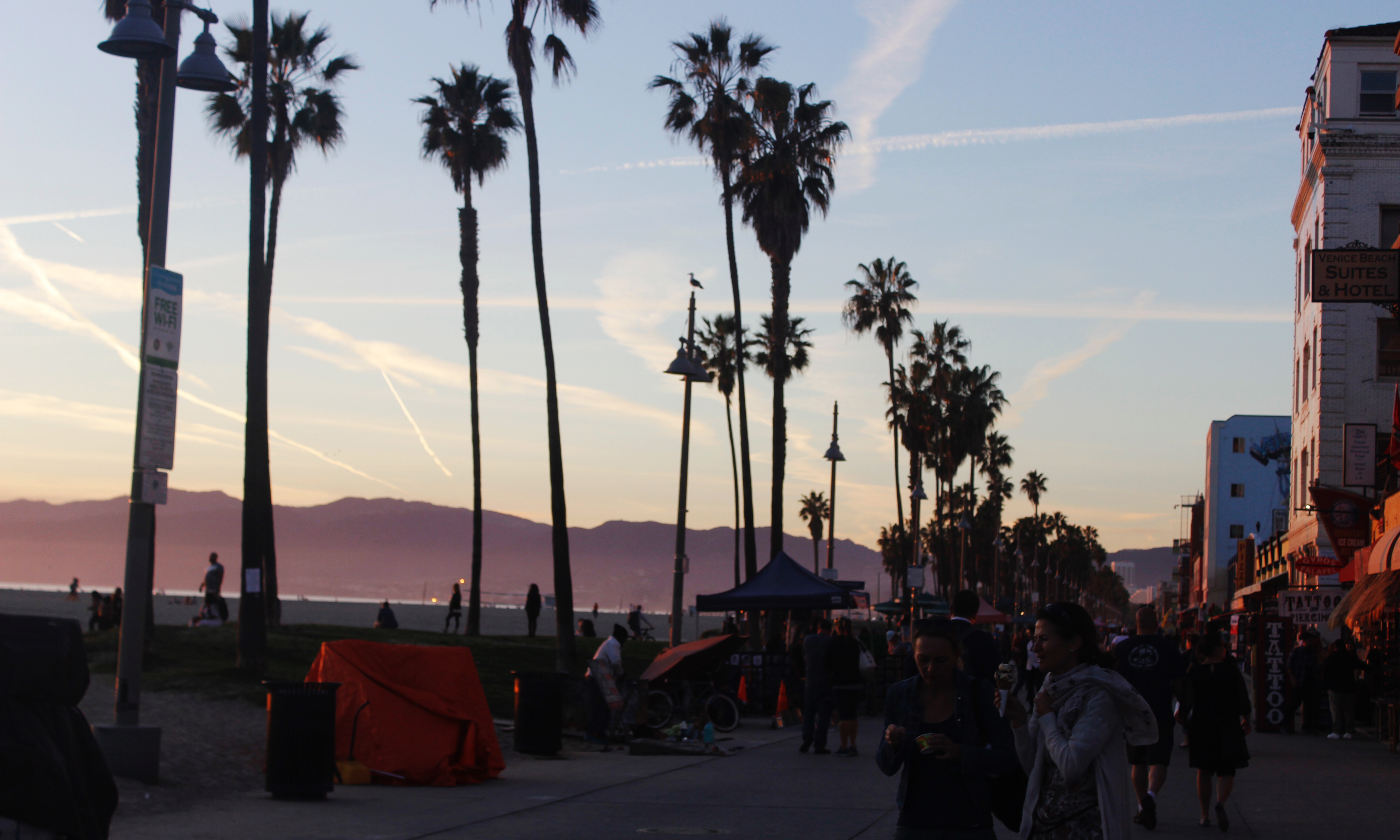 venice beach at sunset